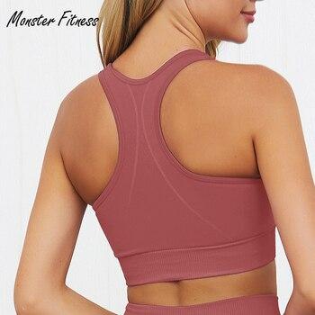 2019 sin las mujeres para deportes gimnasio Yoga Pad Top ropa deportiva camisetas deportes sujetador sin costuras de las mujeres