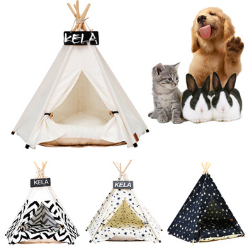Pet Tent House Cat Bed Portable Teepee With Thick Cushion And 6 Colors Available For Dog Puppy Excursion Outdoor Indoor 1