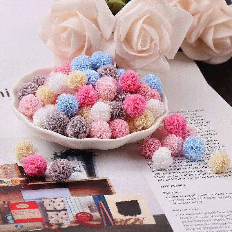 60-120 pièces 15mm corée dentelle boule bricolage gaze élastique fleur pompons artisanat en peluche maille pendentif pour épingles à cheveux bijoux faisant des accessoires