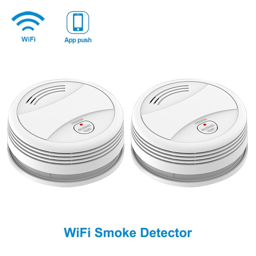 SM05W 2pcs/Lot WiFi Smoke Sensor Tuya APP Smart Life Smoke Detector Fire Protection WiFi Detector Smoke Home Security Detector