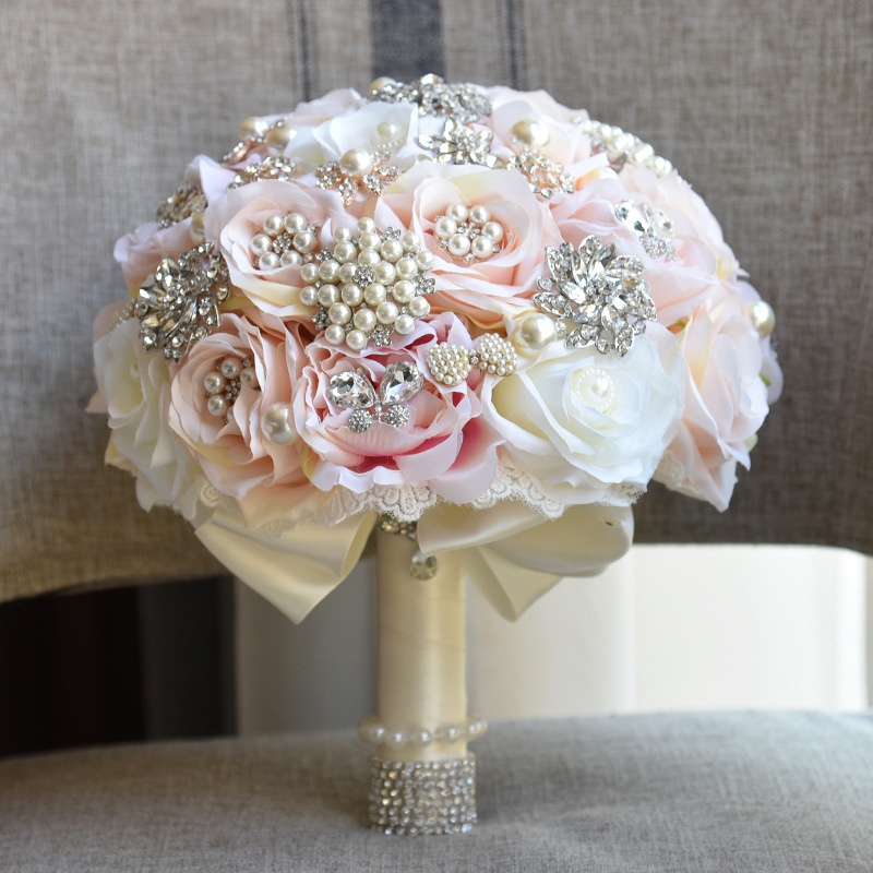 JaneVini Elegant Champagne Ivory Silk Wedding Bouquets Shiny Crystal Pearls Bridal Holding Flowers Jewelry Wedding Accessories