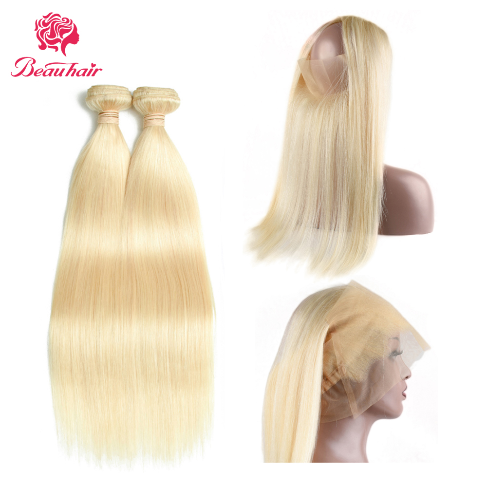 Blonde Hair Brazilian Straight Hair 2 Bundles And 360 Lace Frontal Remy Human Hair Extensation With 360 Lace Frontal For Women