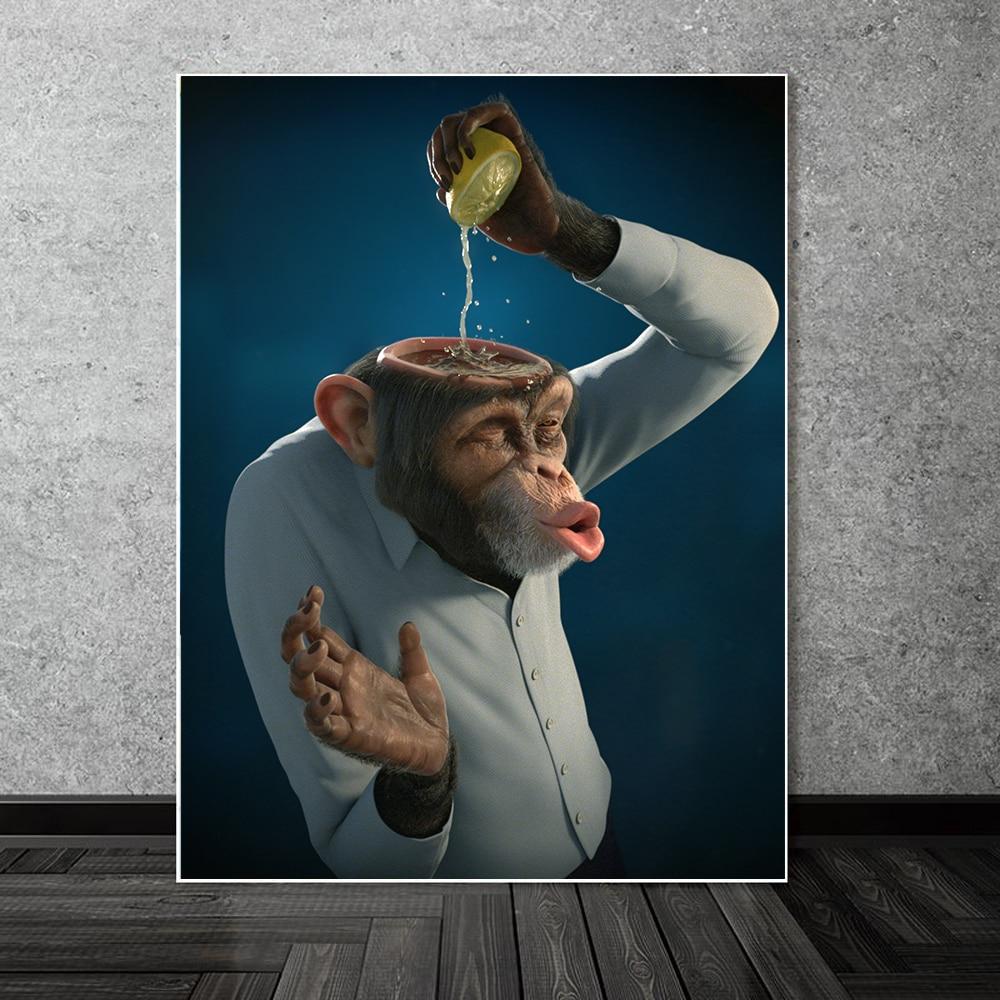 Забавный абстрактный холст с изображением обезьяны лимонного