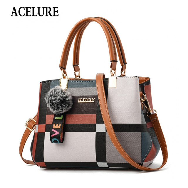 ACELURE New Casual Plaid Shoulder Bag Fashion Stitching Wild Messenger Brand Female Totes Crossbody Bags Women Leather Handbags