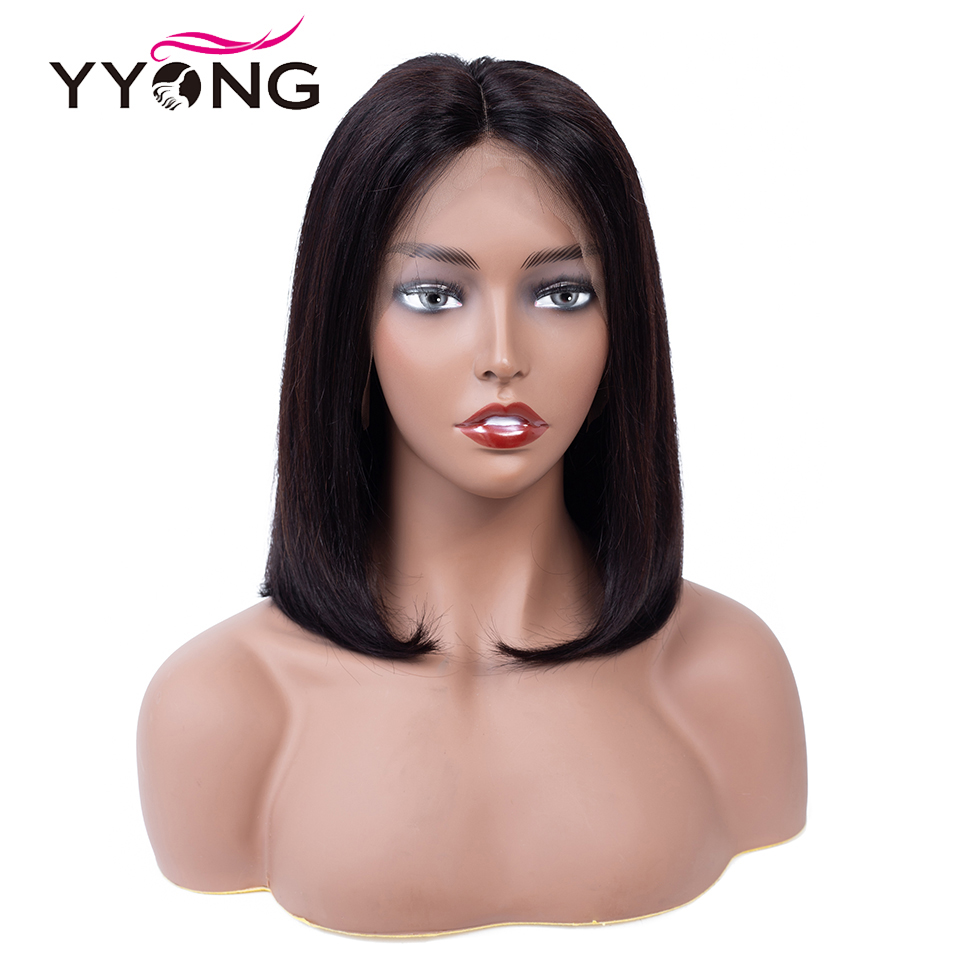 Yyong 13x4 Short Bob Wigs Lace Front Human Hair Wig For Black Women Pre Plucked Hairline With Baby Hair Brazilian Remy Hair 120%-in Human Hair Lace Wigs from Hair Extensions & Wigs    1