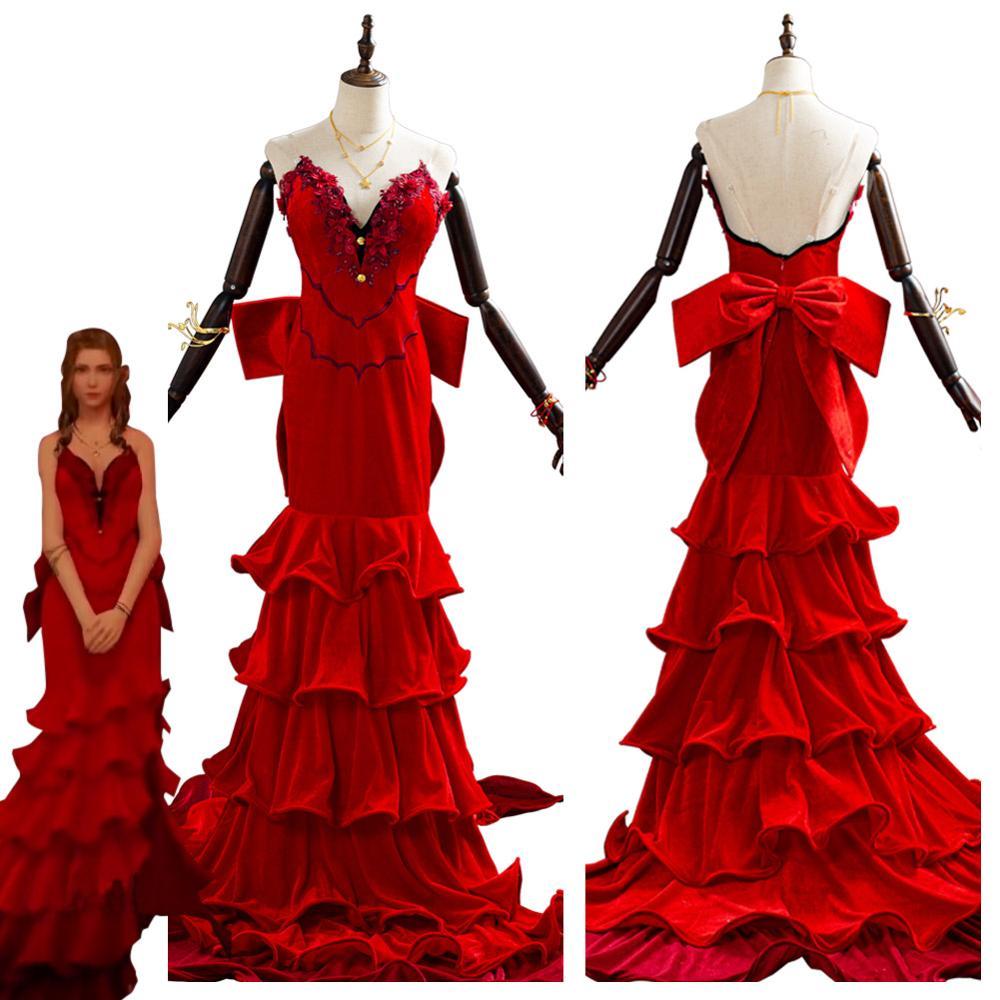 Ff 7 final fantasia vii aerith gainsborough cosplay traje halloween carnaval trajes adultos meninas vestido vermelho personalizado
