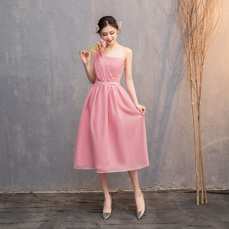 Tea-Length Elegant Dress Women For Wedding Party Bridesmaid Dress Sleeveless Guest Wedding Party Dress Sexy Prom Vestidos Mujer