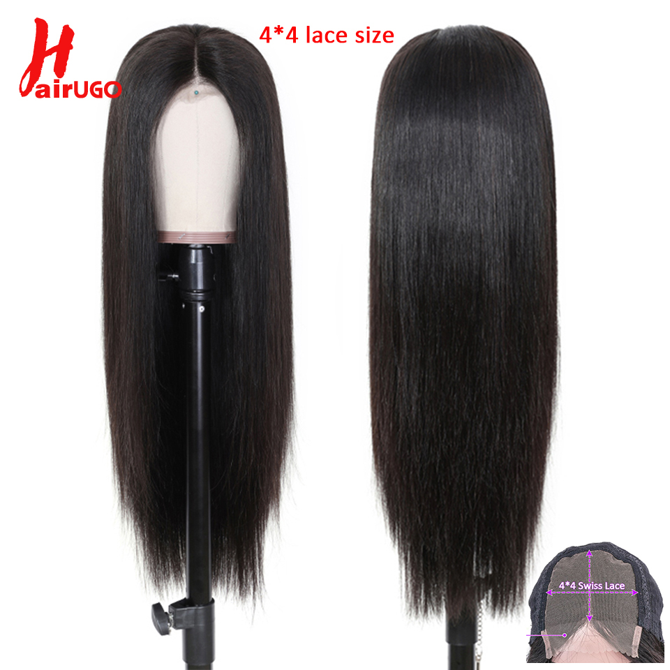HairUGo 4x4 Brazilian Lace Closure Wig 100% Human Hair Wigs For Black Women Non-Remy Straight 4x4 Closure Wig Pre Plucked 8-26""