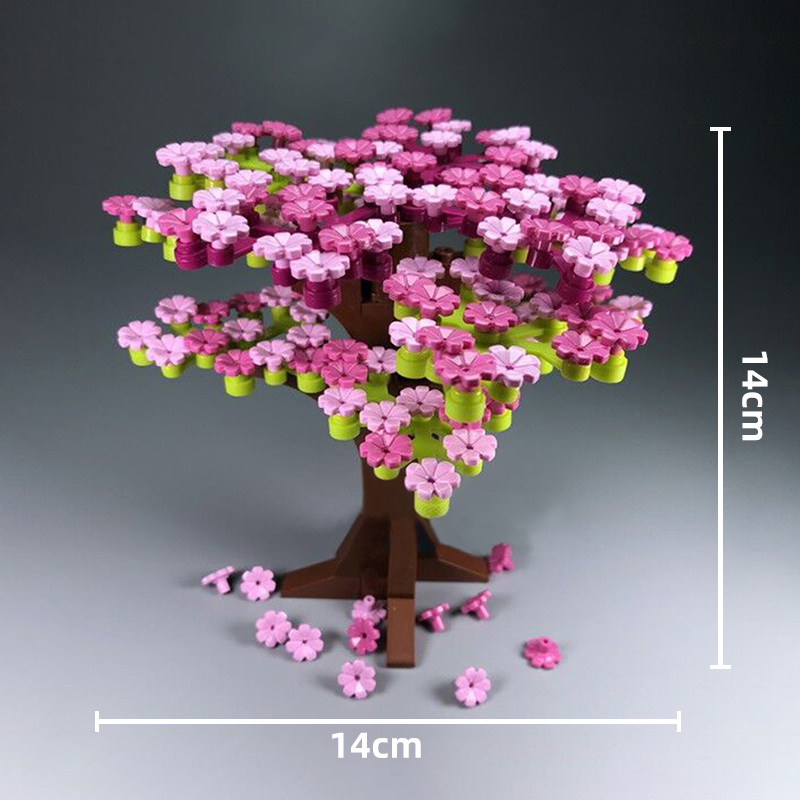 237Pcs Block Cherry Blossom Tree House Plants Flowers Building Blocks Set DIY City Street MOC Accessories Model Bricks Kids Toys (8)