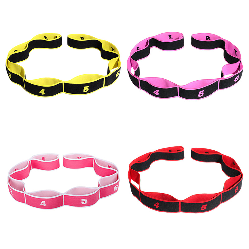 Latin Dance Stretch Strap With 8 Loops Elastic Nylon Latex Band Stretching Tool Fitness Sport Exercise Stretching Supplies