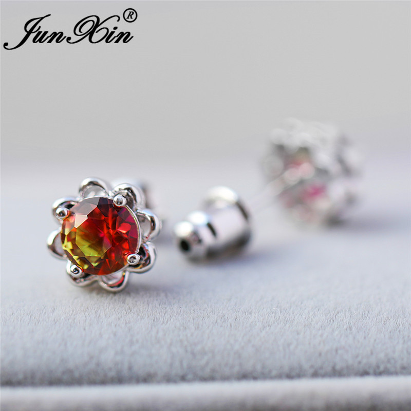 Colorful Pink Yellow Zircon Flower Stud Earrings White Gold Mystic Rainbow Fire Crystal Round Earrings For Women Wedding Jewelry