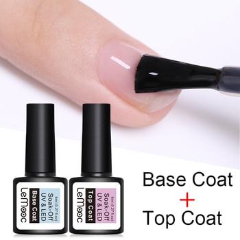 LEMOOC Base and Top Coat Gel Nail Polish UV 8ml Transparent Soak Off  Gel Polish Gel varnish Nail Art недорого