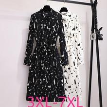 2019 秋冬プラスサイズのドレス大ゆるいカジュアルな長袖花柄のドレスベルト黒、白 3XL 4XL 5XL 6XL 7XL