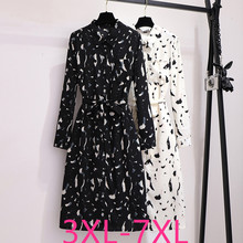 2019 autumn winter plus size dress for women large loose casual long sleeves floral dresses belt black white 3XL 4XL 5XL 6XL 7XL