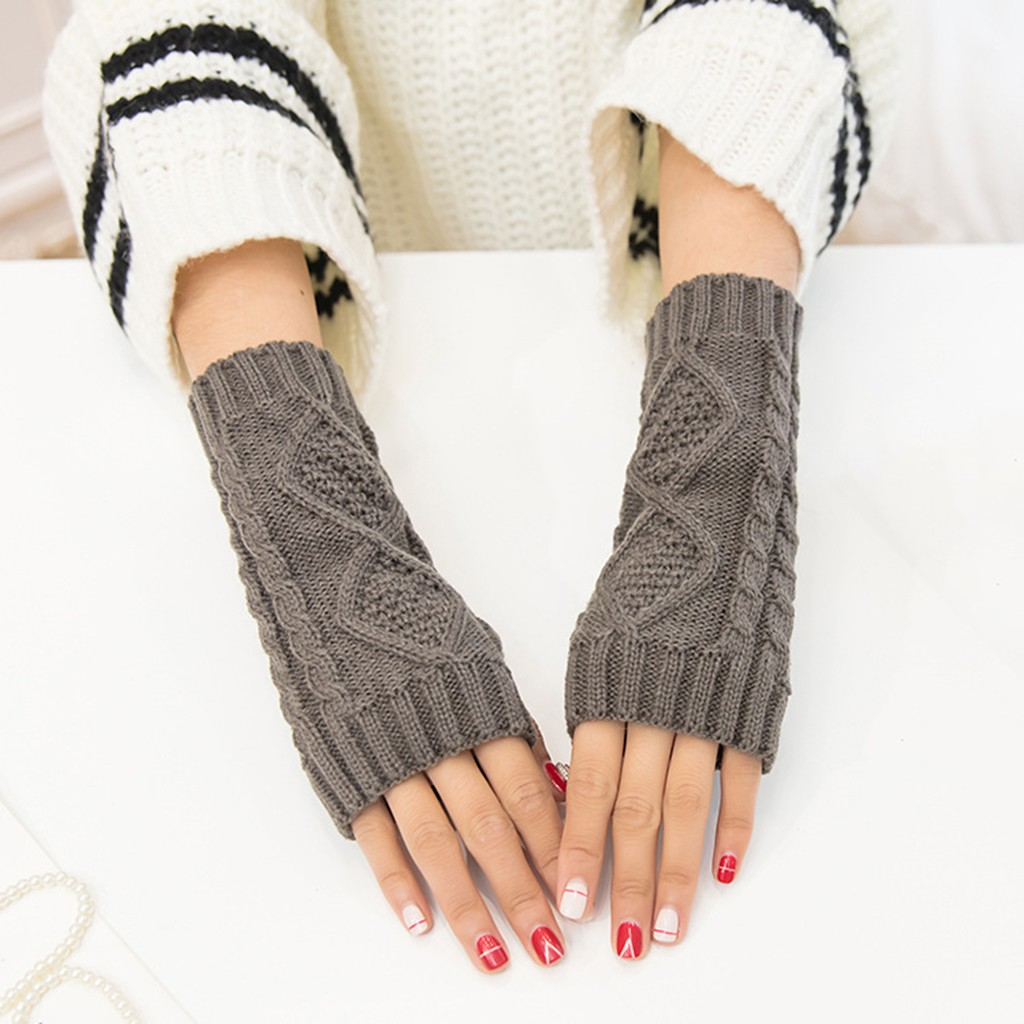 Women's Wrist Arm Hand Arm Warmers Men Knitted Long Fingerless Gloves Sleeve Knit Soft Warm Wool Mitten Elbow Mittens @A04