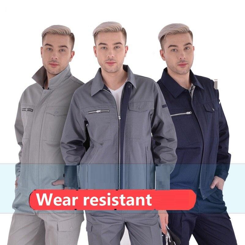 Worker Clothing Men Women Clothes Set Autumn Repair Factory Uniform Long-sleeved Coveralls Welding Suits Zipper Jackets+pants5XL