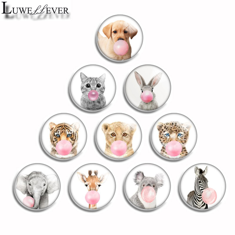 10mm 12mm 14mm 16mm 20mm 25mm 492 Bubble Gum Animal Mix Round Glass Cabochon Jewelry Finding 18mm Snap Button Charm Bracelet