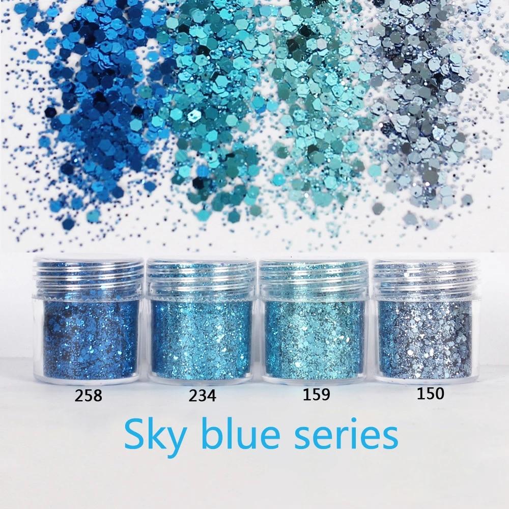 20Jar Fine Glitter Thin Hexagon Flakes Sky Blue Series Spangles ...