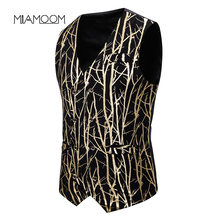 MIAMOOM Suit Vest New Men's Waistcoat Slim Fit Fashion Branch Hot Gold Printed Waistcoat Dress(China)