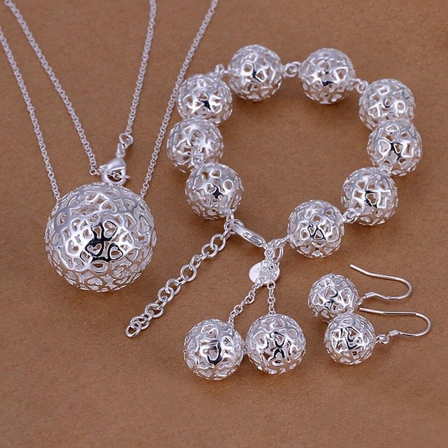 Fine 925 sterling silver wedding Women jewelry exquisite hollow necklace bracelets Earrings set fashion jewelry Set S110