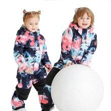 Gsou/лыжный костюм для девочек и мальчиков; лыжный костюм из одного предмета; Водонепроницаемая Теплая Лыжная одежда; детский лыжный комплект