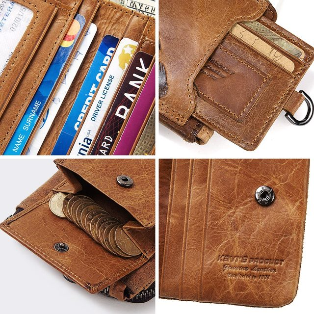 GZCZ Genuine Leather Men Wallet Fashion Coin Purse Card Holder Small Wallet Men Portomonee Male Clutch Zipper Clamp For Money 6
