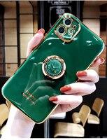 Boucho-funda de silicona blanda de lujo para iPhone, funda con soporte de anillo y anillo, para iPhone 12 11 Pro Max XS X 7 8 6 6S plus SE XR