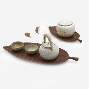 Image 3 - Musowood Wooden Leaf Tray For Tea Set Cup Fruit Snake Dessert Home Decoration For Hotel Office Black Walnut Leaves Plate Sample