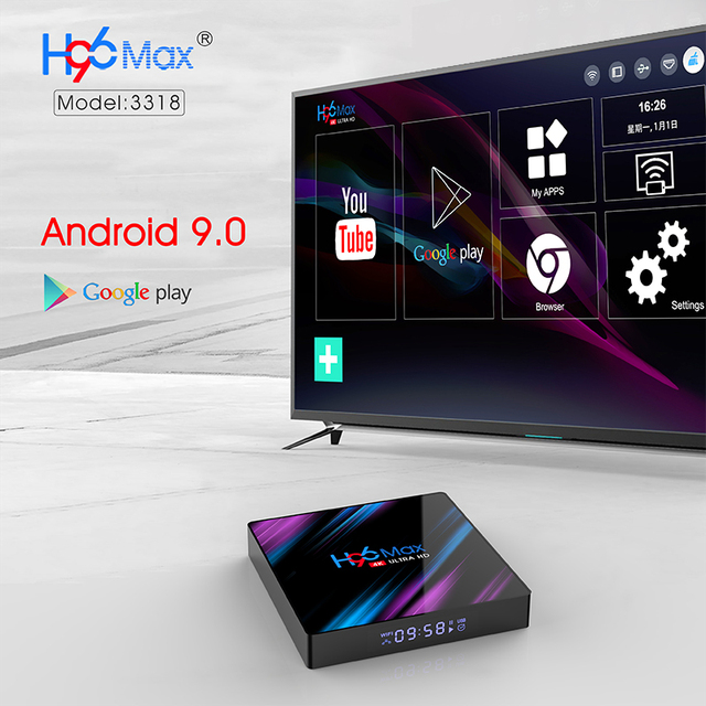 Android 9.0 TV Box H96 Max Rockchip RK3318 4K Smart TV Box 2.4G&5G Wifi BT4.0 16GB 32GB 64GB Media Player Android Set Top Box 3