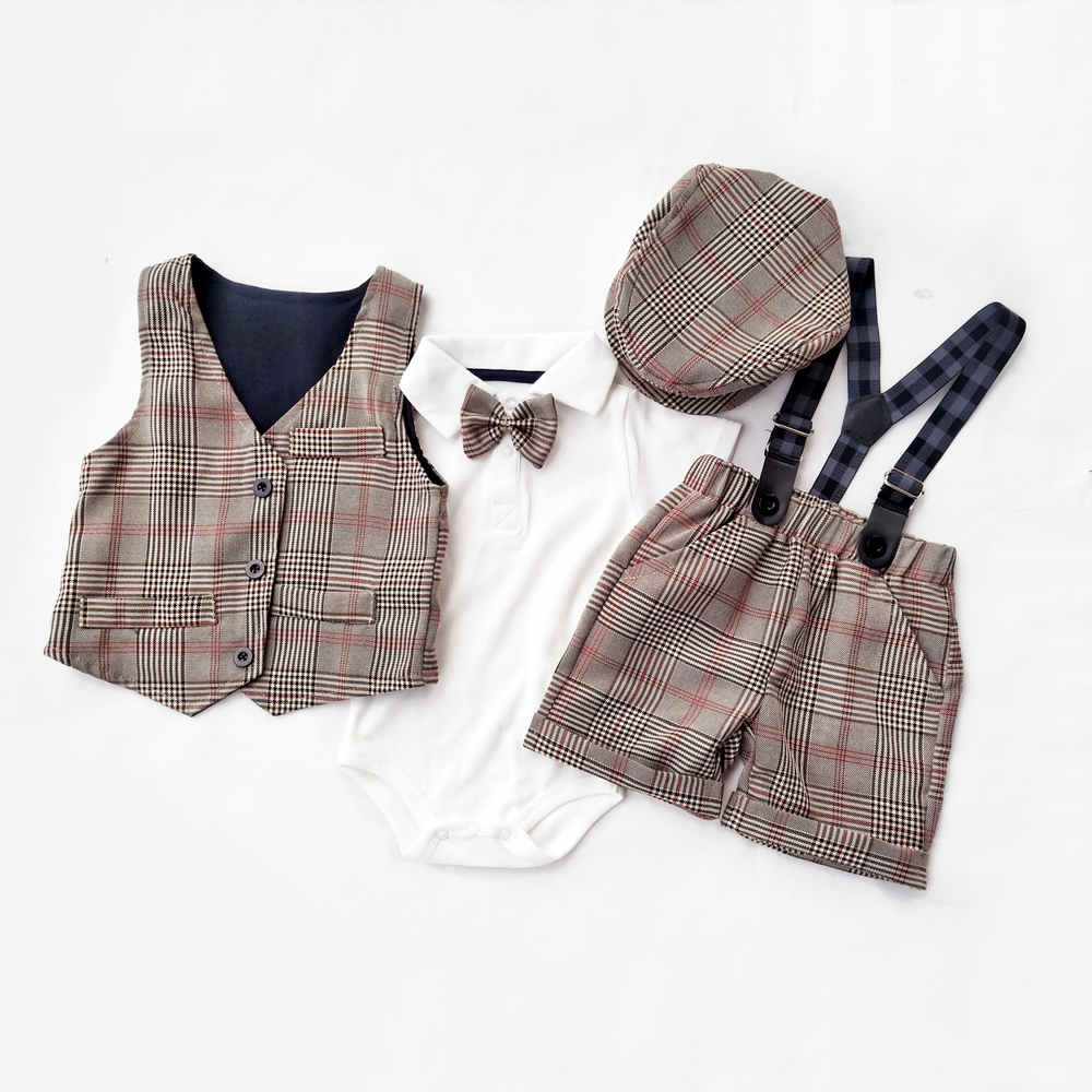 Boy dress Short sleeve gentleman suit 2020 new Lattice vest Strap short hat and cotton romper 5pcs clothing sets boys clothes