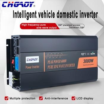 CHGAOY fiable inversor de onda sinusoidal pura LCD pico 6000W inversor Solar doméstico 12V / 24V / 48v-110v 220 V-salida 3000W