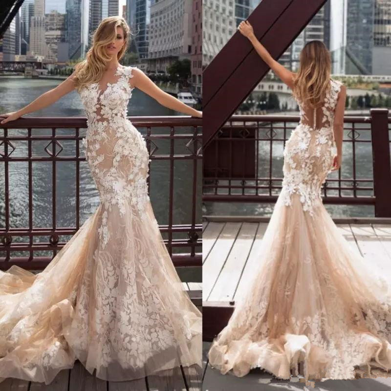 Milla Nova 2020 Champagne Blush Mermaid Wedding Dresses Sheer O-neck Lace Applique 3D Floral Illusion Back Beach Wedding Gown
