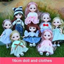 Bjd boneca 1/12 16cm 13 comum de plástico do corpo do bebê moda casual vestir roupas acessórios sapatos crianças brinquedos para meninas bonecas diy presente