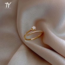 Minimalist Exquisite Zircon Gold Star Opening Rings For Woman Fashion Korean Jewelry Luxury Wedding Party Unusual Girl's Rings
