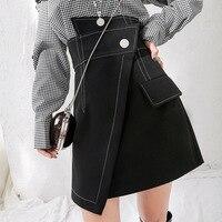 LANMREM 2020 spring Fashion New Irregular High Waist Mini Skirt Pockets Bottoms spring