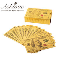 24K Plated Gold poker Gifts card Gold Foil Poker Set Plastic Magic Card Waterproof Gambling Board game US dollars playing cards(China)