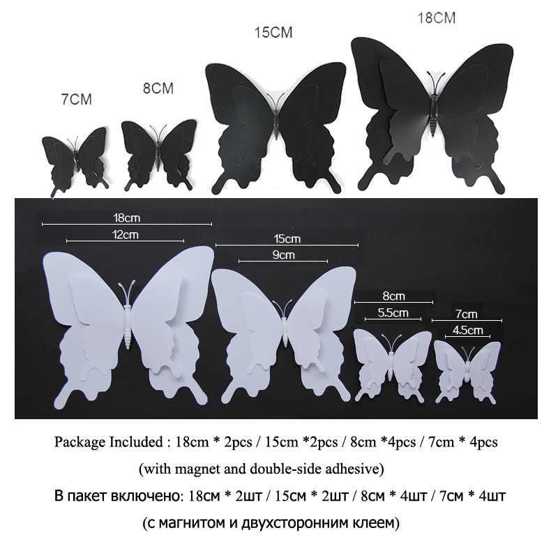 12 pçs/set 3D Pterossauro borboleta Adesivo de Parede decoração de Casa para o casamento de Dupla camada grandes Borboletas Imã de Geladeira adesivos