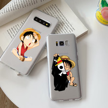 Anime One Pieces Monkey D Luffy Soft Silicone Phone Case for Samsung Galaxy A50 A30 A7 A8 Plus A6 A5 A3 J5 J7 TPU cover(China)