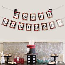 Magic Themed Happy Birthday Party Bunting Banner Magician Hanging Decoration Black White Red Supplies