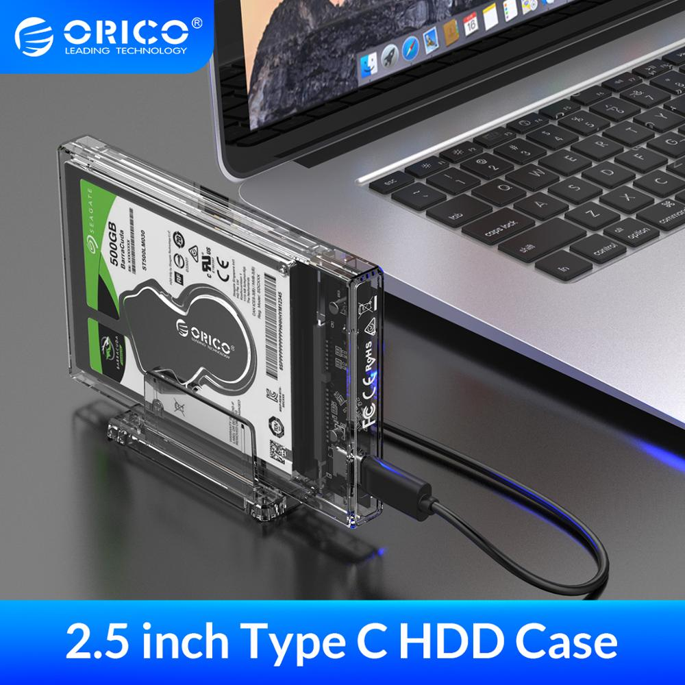 "ORICO 2.5"" HDD Case SATA to USB 3.1 C Hard Drive Enclosure with Stand for SSD Disk HDD Box Transparent External Enclosure Case(China)"