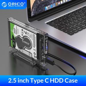 """ORICO 2.5"""" HDD Case SATA to USB 3.1 C Hard Drive Enclosure with Stand for SSD Disk HDD Box Transparent External Enclosure Case(China)"""