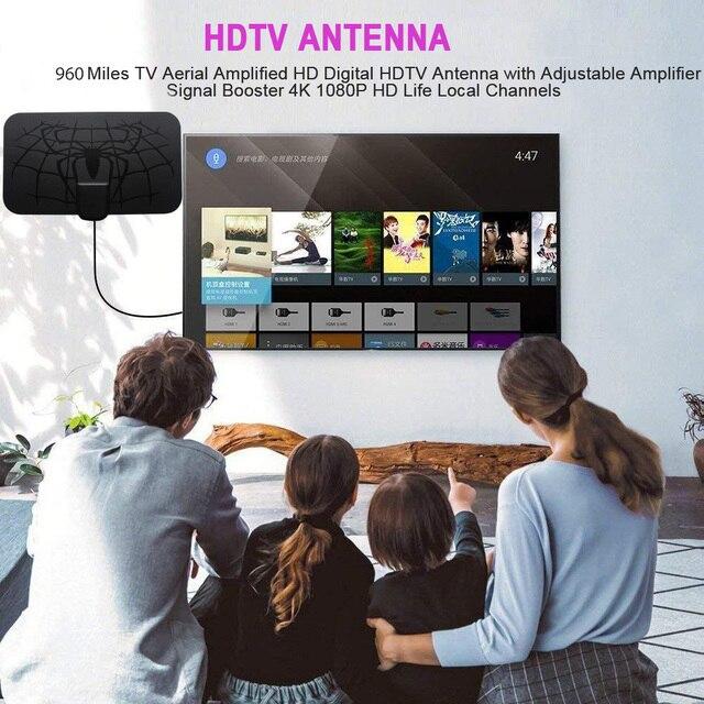 Antena digital hdtv, 1080 quilômetros antena 1080 p digital hdtv interior tv com amplificador de sinal impulsionador tv rádio surf fox antena aéreo,