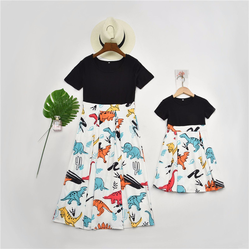 Short Sleeve Mother Daughter Dinosaur Print Dress Mommy And Me Cute Kids Princess Dresses For Girls Family Look Matching Clothes