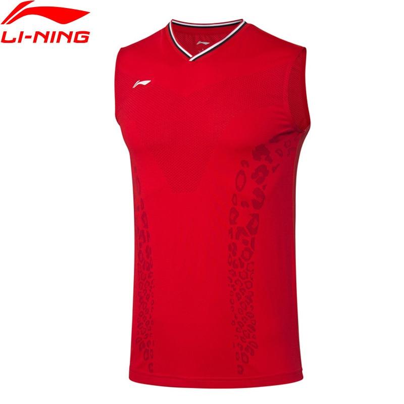 Li-Ning Men Badminton Competition Vest Sleeveless T-Shirts AT DRY Breathable LiNing Li Ning Sports Tank Tops AVSP473 MBJ127