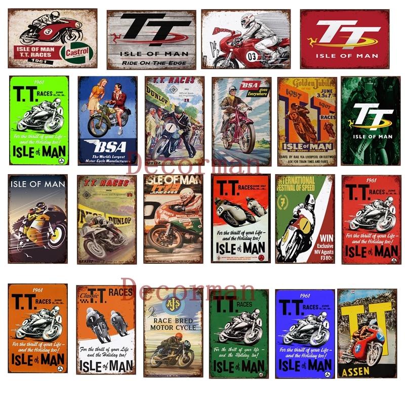 [ Mike86 ] TT ISLE OF MAN Race BSA Motor Custom Metal Sign Shabby Chic Retro Wall Painting Bar Art 20*30 CM LTA-1694