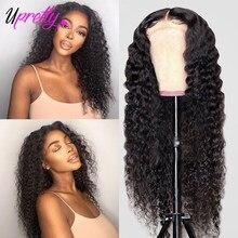 Upretty onda profunda fechamento do laço peruca brasileira 4x4 fechamento do laço perucas de cabelo humano remy perucas para preto