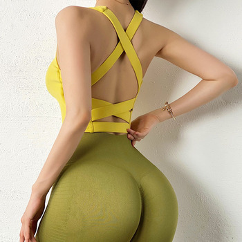 High Stretch Yoga Crop Top, Sports Wear For Ladies, Gym Shockproof Running Sport Bra Sport9s