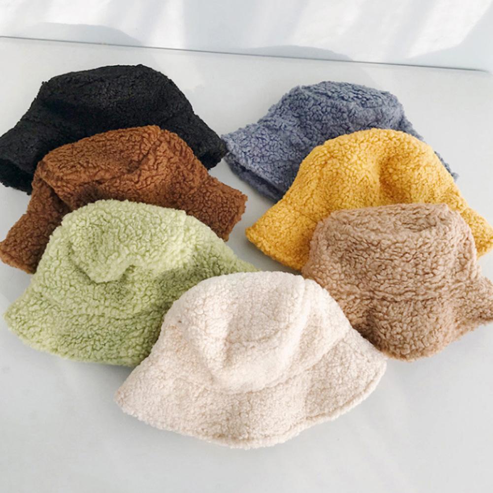Winter Bucket Hat Women Hat Solid Color Faux Lambswool Soft Warm Fishing Cap Sun Bucket Hat Breathable Sun Protection Hat Women