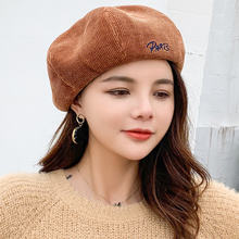 HT2606 Berets Lady Letters Women Hat Autumn Winter Hats for Artist Painter Corduroy Octagonal Beret