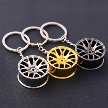 Auto Turbo Hub Keychain Wheel Rim Car Keyring Luxury Zinc Alloy Key Fob Wheel Tire Styling Car Key Chain Keyring For BMW image